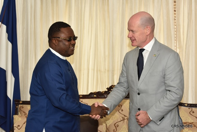 Cross River State Governor, Senator Ben Ayade welcoming the Irish Ambassador to Nigeria, Mr. Sean Hoy, when the envoy paid a courtesy visit to Government House, Calabar