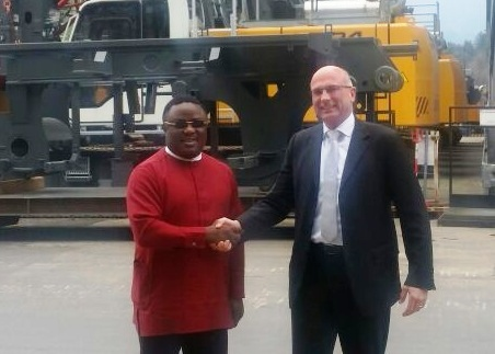 Cross River State Governor, Senator Ben Ayade and Gerhard Frainer, Managing Director of Liebherr-Werk, Austria during a tour of the company's production facilities in Austria