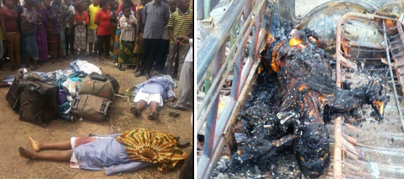 Pictures of the accident scene involving the Catholic nuns and the charred body of the victim burnt in another accident along the Highway in Calabar