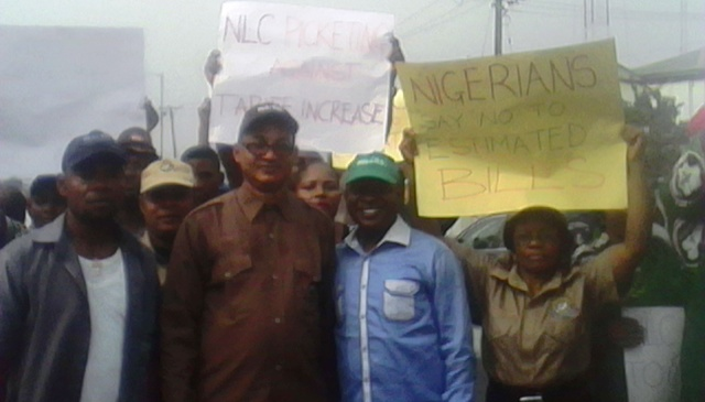 State Chairman of NLC, Comrade John Ushie and other labor officials during the protest in Calabar yesterday