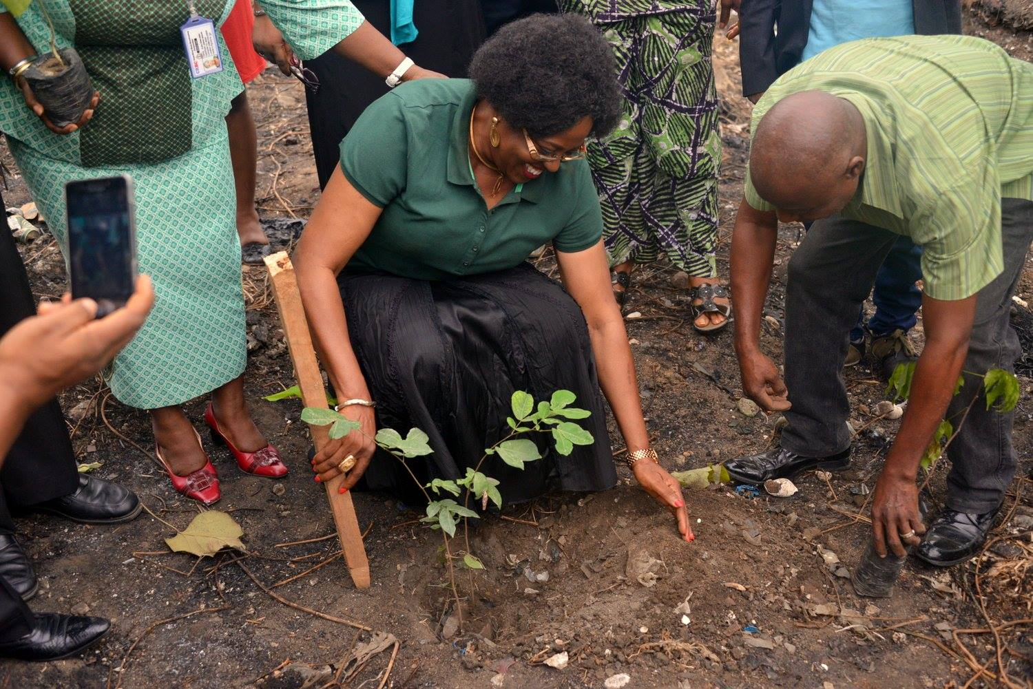 Information Commissioner, Rosemary Archibong planting a tree