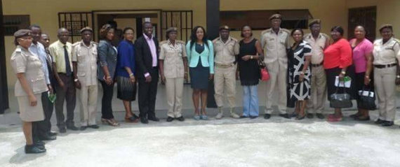 Dr. Betta Edu and her delegation with officers of the Immigration Service in Calabar during the visit
