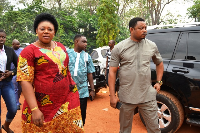 Chief of Staff to Governor Ayade and representative of the Governor at the burial, Hon. Martin Orim arriving in company of his wife, Lucy Orim