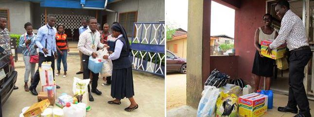 NACRISS President, COE Akamkpa handing over the gift items