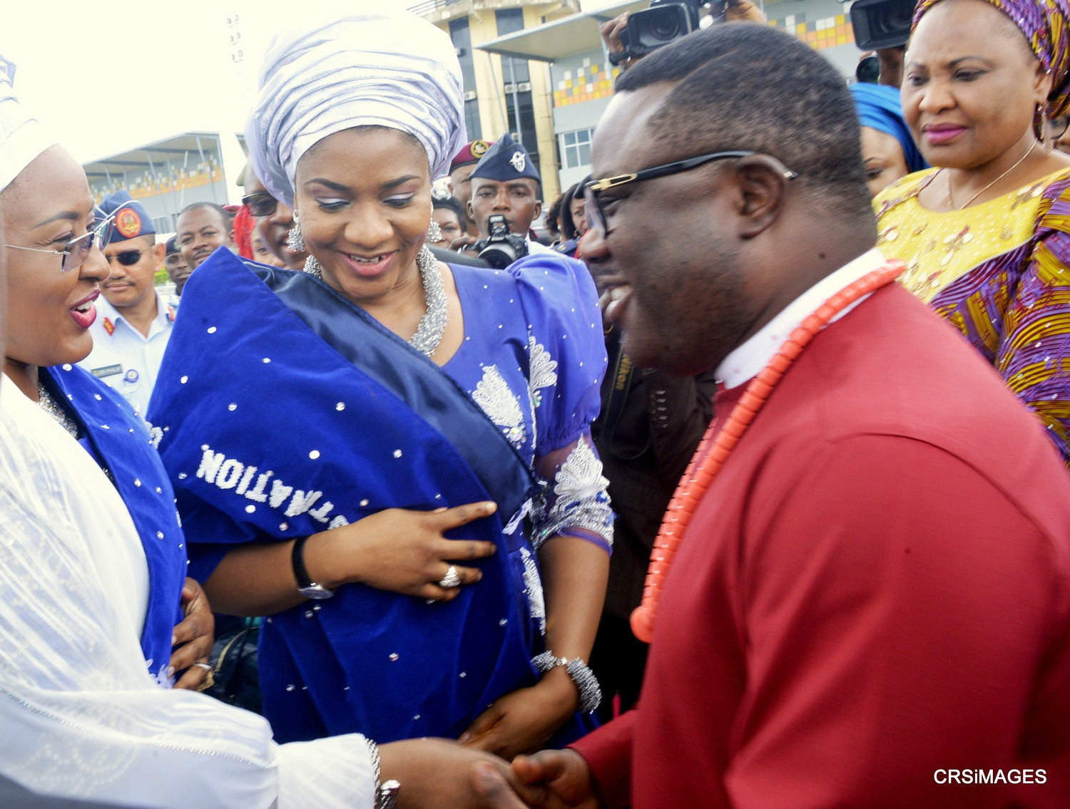 Governor of Cross River State, Ben Ayade joing his wife to welcome the Wife of the President, Aisha Buhari to Cross River today