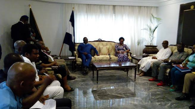 Governor Ben Ayade and and members of the state exco while receiving the Head of Service of the Federation, Mrs. Winifred Oyo-Ita in the governor's office Calabar today