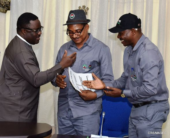 Governor Ayade and the state chairman of NLC along with his TUC counterpart after a courtesy call on the governor in his office