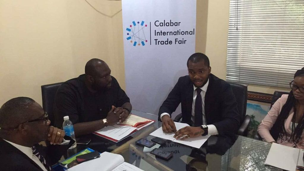 Commissioner for Finance, Asuquo Ekpeyong Jr, and the founder of Cliqit at the signing of the MoU for the World Biggest Trade Fair in Calabar