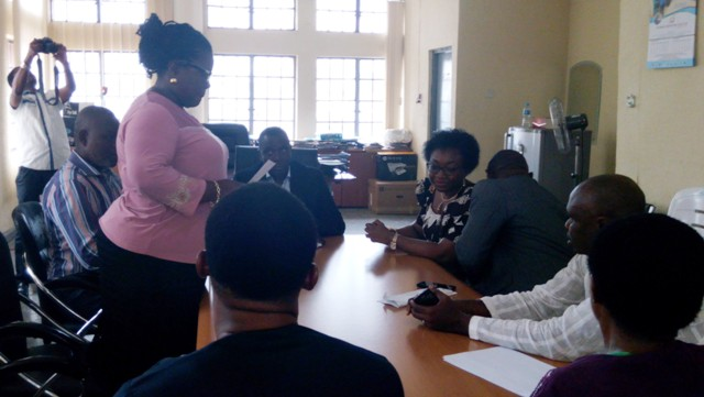Commissioner of Envionment, Cross River State, Engineer Eraye and his team while receiving the nation's Head of Service, Winifred Oyo-Ita in his office in Calabar