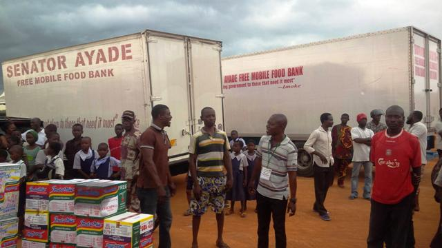 File picture of the food bank initiative when it was still a campaign initiative of Senator Ben Ayade