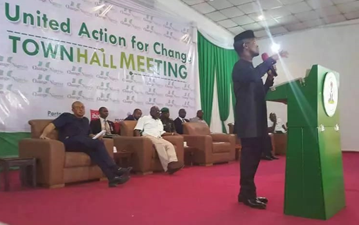Vice President, Yemi Osinbajo speaking yesterday at the townhall meeting at the Lagos Airport Hotel