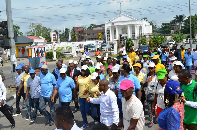 Cross River Deputy Governor, Ivara Esu, Representing of the Wife of the Governor, Commissioner for Health, Inyang Asibong and DG CRSPHCDA, Betta Edu leading a walk against malaria to commomorate the world malaria day in Calabar today
