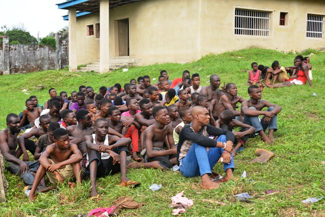 Some of the street kids rounded up by Operation Skolombo task force in Calabar