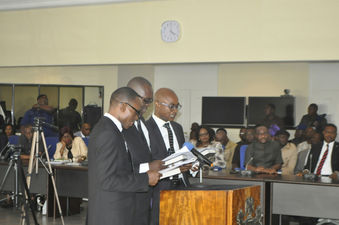 The three new judges of the Cross River State Hight Court, taking their oath of office before the Governor