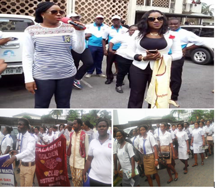 Health Commissioner, Dr. Inyang Asibong,and the Director General, Primary Health Care Development Agency, Dr. Betta Edu leading the March To Halt Diabetes to mark the World Health Day in Calabar