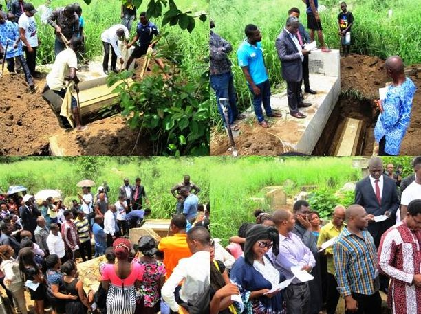 Family and friends of late Stanley Etim bidding him farewell at his grave side