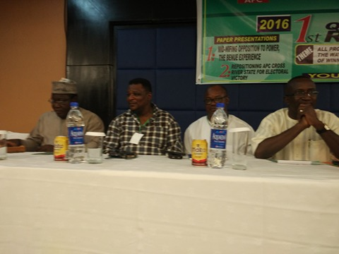 Prince Goddy Jedy Agba (2nd left) and leader of the 7th Senate, Senator Victor Ndoma Egba, SAN at the retreat