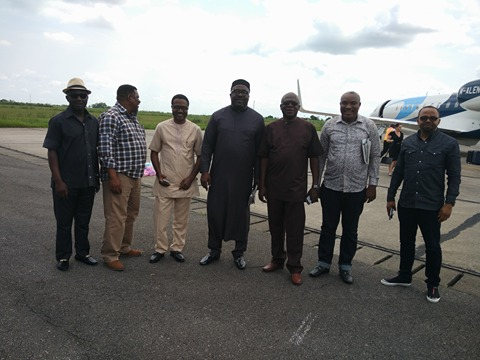 Prince Goddy Jedy Agba (2nd left), Barrister Venatius Ikem, Prince Hilliard Ettah, Hon. Paul Adah, Chief Okoi Obono Obla arriving Calabar airport