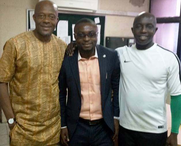 Cross River State Sports Commissioner, Asu Okang (M), flanked by Super Eagles Coach, Samson Siasia and Dr. Emmanuel Ikpeme of the NFF at the Glass House