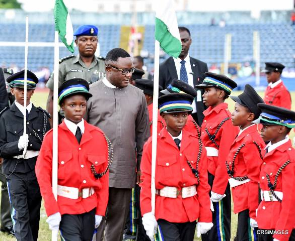 Cross River State Governor, Senator Ben Ayade inspecting Guard of Honor mounted by detachment of boys and girls from the Nigeria Police Primary School Calabar, during the 2016 children's day celebration in Calabar