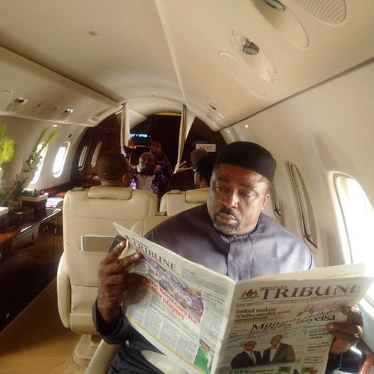 National Vice Chairman, APC South South in a chartered private jet on his way to the APC retreat in Calabar from Abuja, behind him is Mr. Ifere Paul