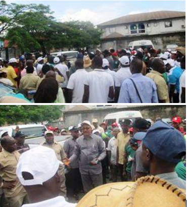 Cross River State NLC Chairman, Comrade John Ushie, addressing protesting workers in Calabar