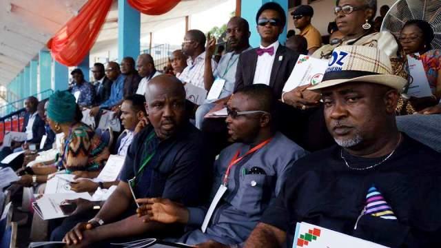 Hon. Oben'echie, Hon. Asu Okang and the new PDP Chairman, Hon. Edim Inok at the congress