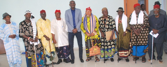 Speaker, John Gaul Lebo (M) and a delegation of Adadama Chiefs and Community leaders after a courtesy call to the Speaker in his office in Calabar yesterday