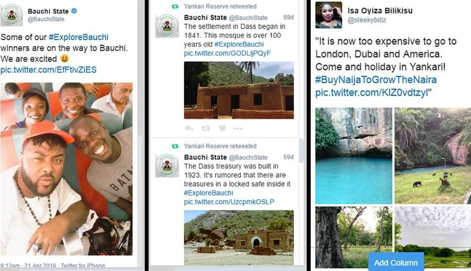 Some of the active social media handles promoting the Bauchi tourism opportunities
