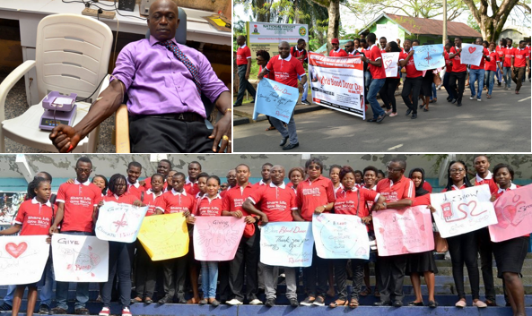 Doctor Udeme Asibong (top left) and other members of the public marking the world blood donors day while the Health Commissioner (middle below) poses for a photograph with volunteers