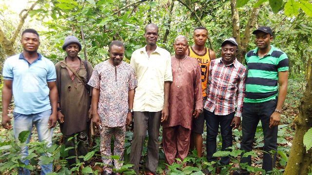 Some of the affected farmers with the DG SEMA and CRO Obudu