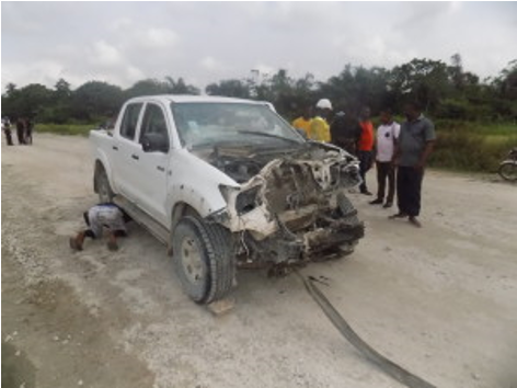 One of the Toyota Hilux Vehicles that the kidnappers opened fire on (picture credit: Emmanuel Unah)