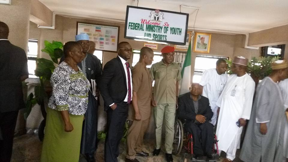 Minister for Youths and Sports, Solomon Dalong, Commissioner for Youth and Sports CRS, Asu Okang and other members of the Main Organizing Committee MOC of the National Sports Festival, Calabar 2016 during the inauguration of the MOC in abuja
