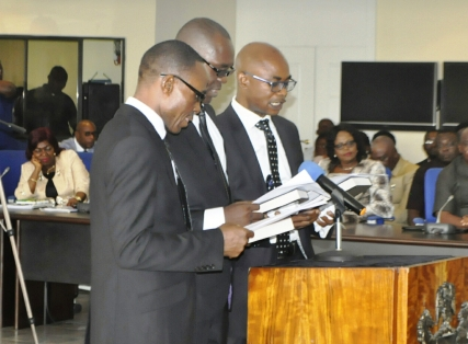 Their Lordship Justice Ukpai Abba Ibitham, Justice Eno Ikpi Ebri, and Justice Ayade Emmanuel Ayade, all recently sworn in as Judges of the Cross River State High Court (file picture)