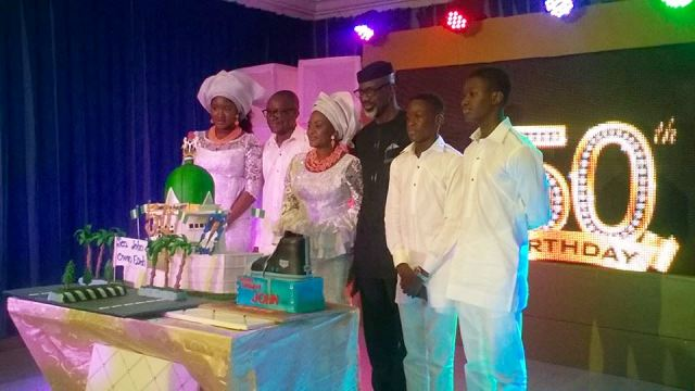 Senator Owan Enoh and family in a photo with the former governor of Cross River State, Senator Liyel Imoke during the 50th birthday celebration