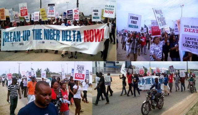 the protesters at the event in Ibeno