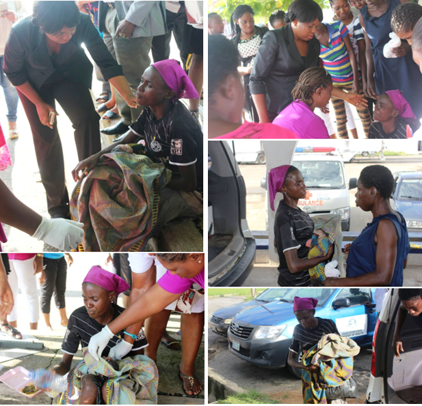 Scenes from the road side delivery - Health Commissioner, Inyang Asibong, attending to the mother and child