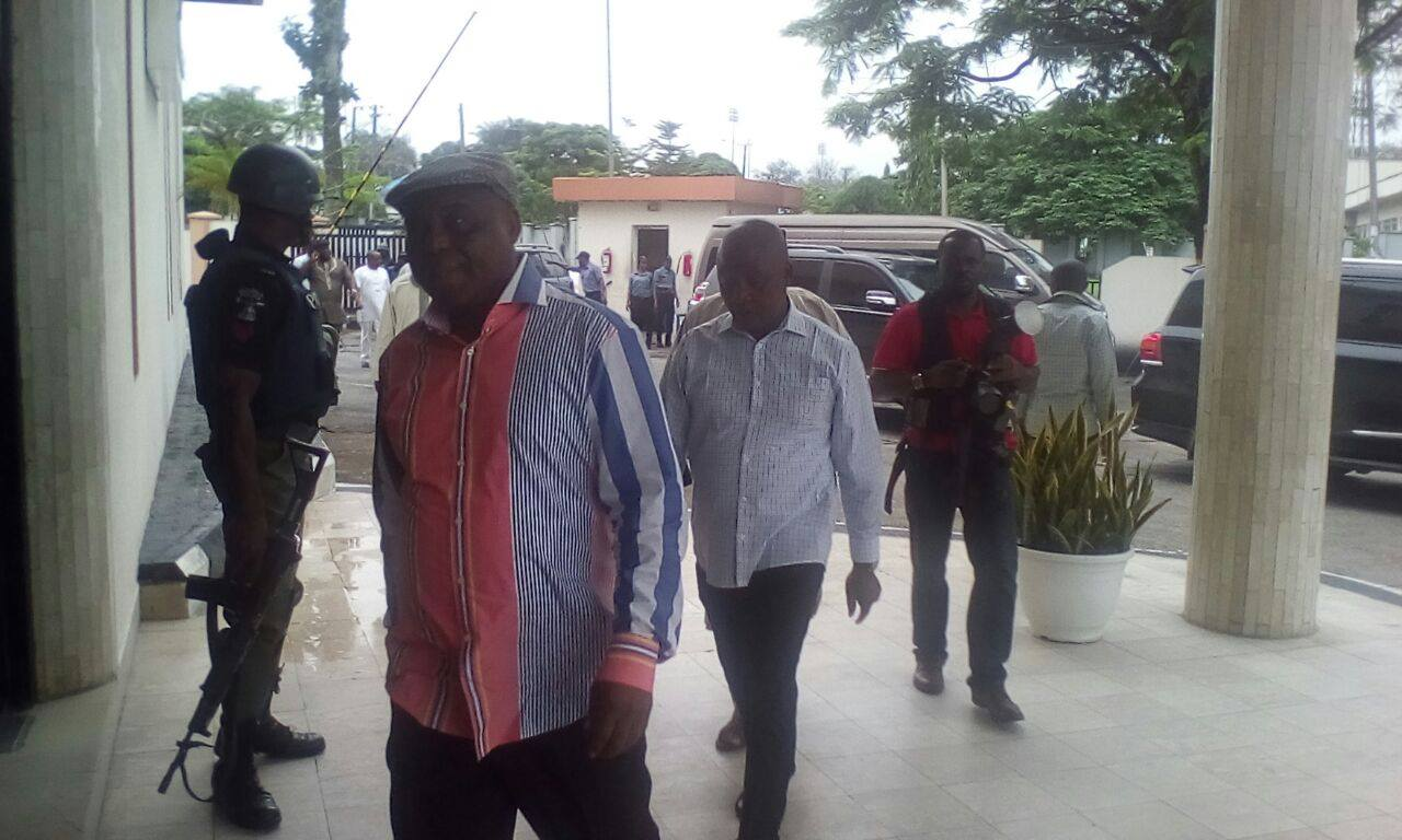 DOkpesi arriving Transcorp Metropolitan where he met with the delegates
