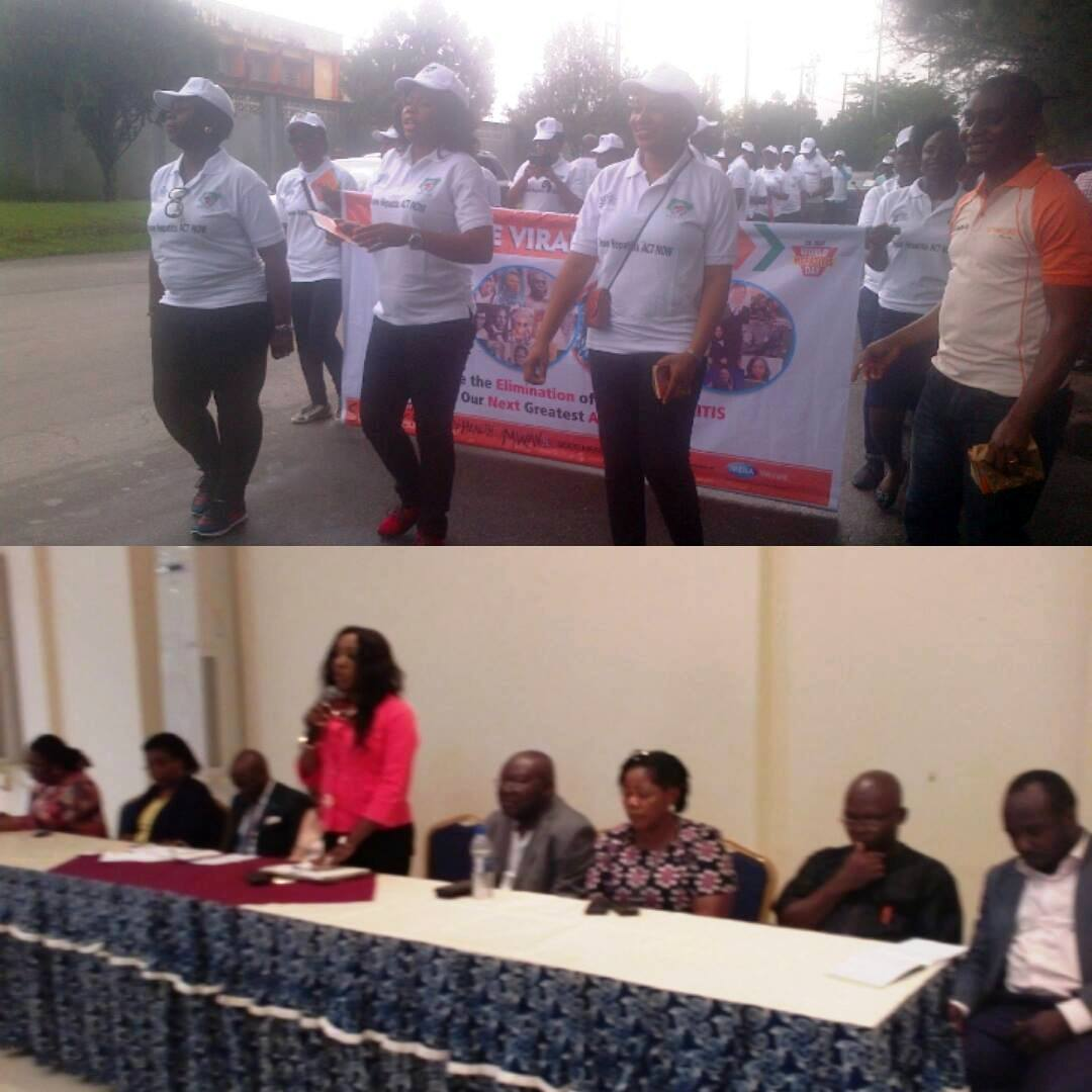 (Above) Health Commissioner Inyang Asibong at a rally marking the 2016 world hepatitis day (below) DG CRSPHCDA Betta Edu addressing trainees at the MTCT elimination strategy plan development meeting