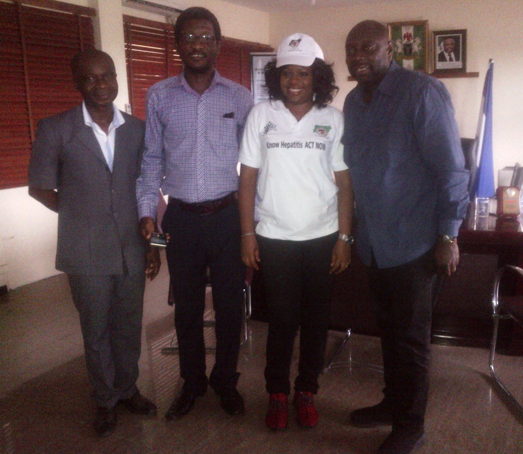 From R-L: Segun Arinze, Health Commissioner Inyang Asibong and Fidelis Duker after the visit