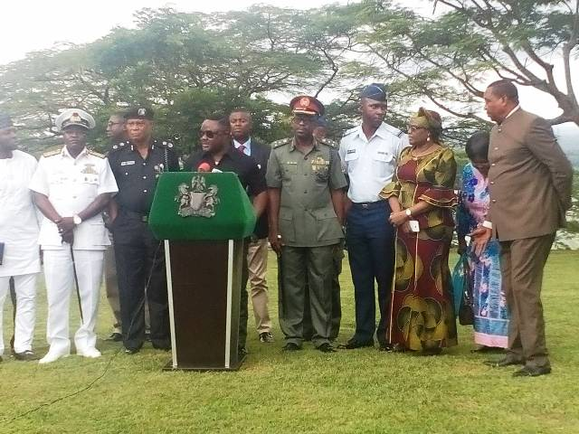Governor Ayade and the security chiefs while addressing the Press in Calabar earlier today