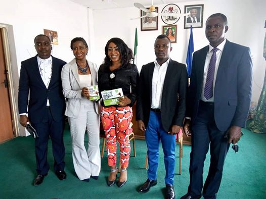 Representatives of Fyodor Biotechnologies Corporation in a group photograph with the DG CRSPHCDA Dr. Betta Edu after the visit