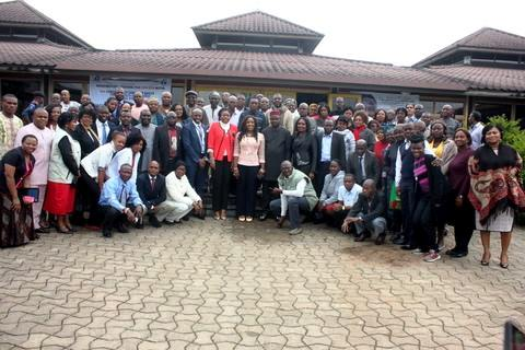 Commissioner for Health, Dr. Inyang Asibong and DG, CRSPHCDA Dr. Betta Edu in a group photo with partners and participants at the workshop