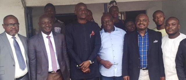 CRSHA Speaker (front middle in blue) poses for a photograph with colleagues and ACROJ members at the ACROJ Secretariat in Calabar Photo Credit: Calabarblog.com