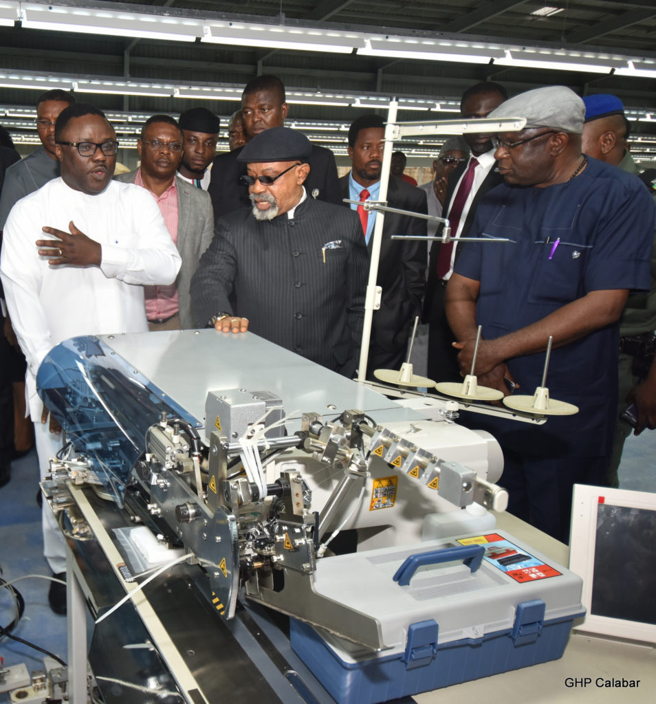 Cross River State Governor, Professor Ben Ayade with the Minister for Labour and Productivity, Senator Chris Ngige during a visit to Calabar Garment Factory