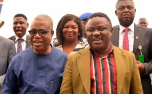 Governor Ben Ayade (right) and Deputy, Prof Ivara Esu (left) shortly after his arrival