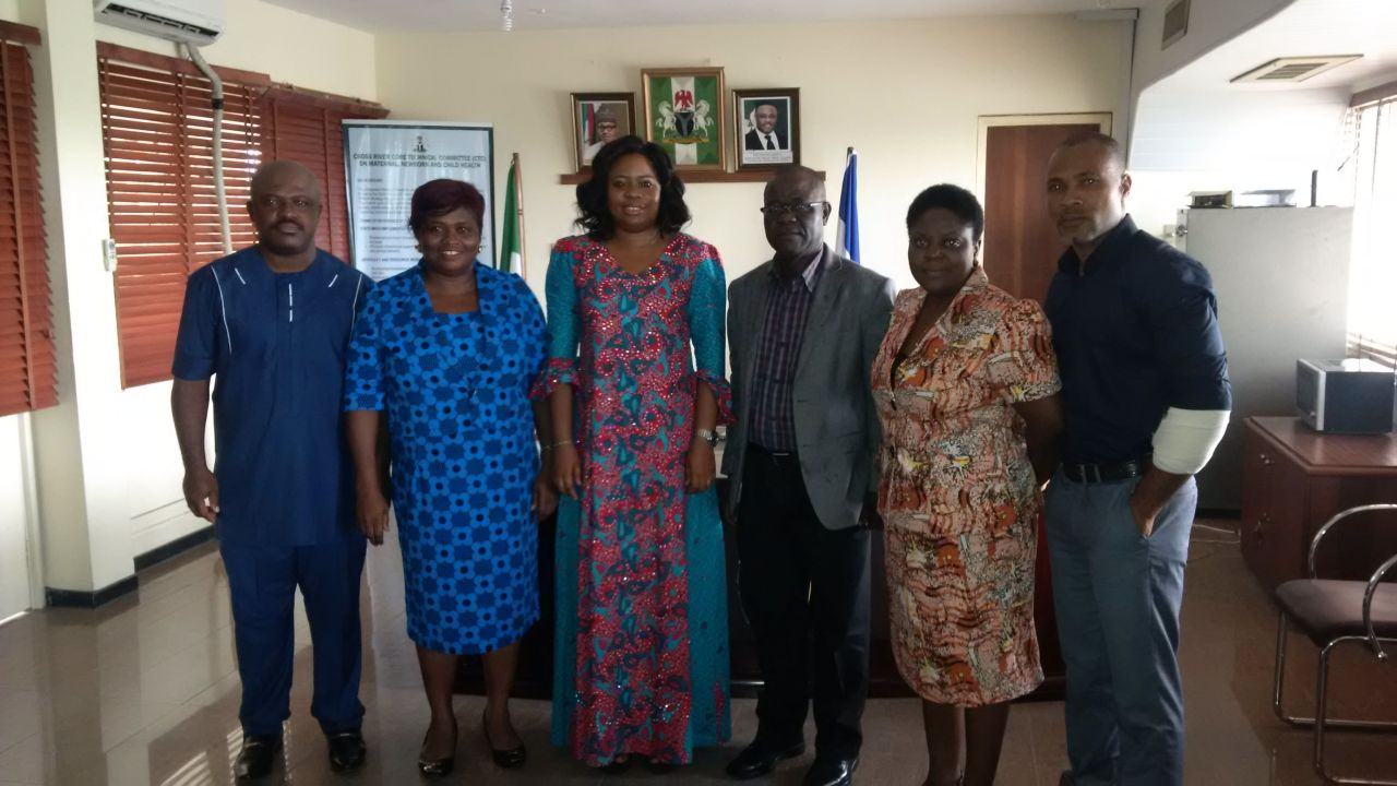 Health Commissioner Inyang Asibong (third from left) poses for a photograph with the SOGON delegation shortly after the meeting