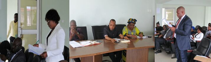 (From L-R) Barrister Agbiji Florence, members of the committee and Barr Idaka at the hearing