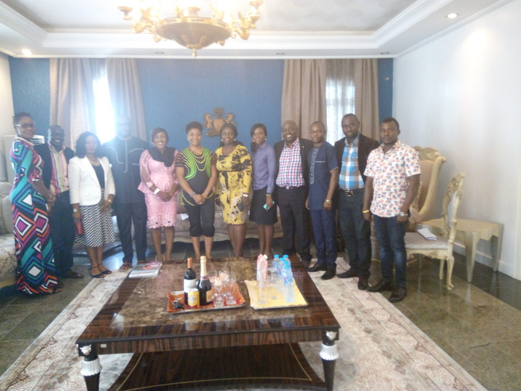 Dr. Linda Ayade (Middle in green and black) pose for a photograph with DG CRSPHCDA and the developing partners
