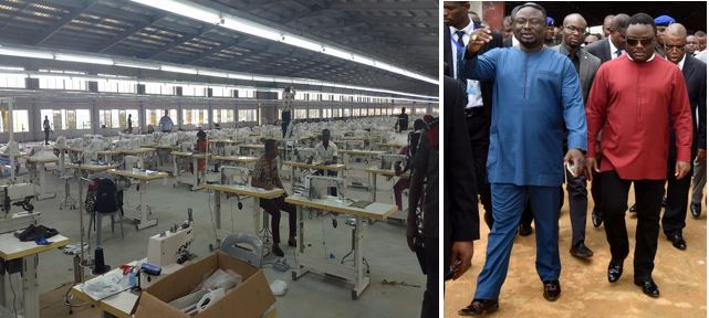 The Cross River State Garment Factory, Governor Ayade and his brother Frank with the Deputy Governor, Ivara Esu behind the Governor